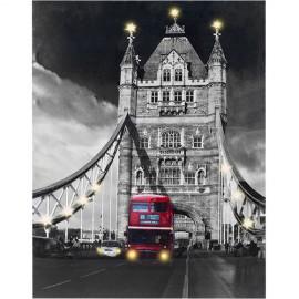 Tableau Tower Bridge avec Led en Tissu de Lin 60 x 80 cm