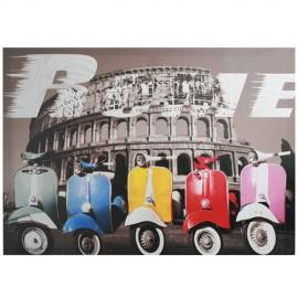 Tableau Vintage Motos Multicolores à Rome