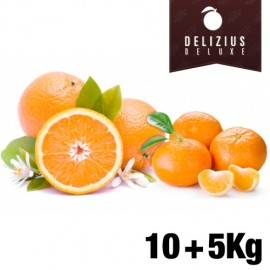 Lot d'Oranges et de Mandarines Deluxe (Orange Naveline 10 kg + Mandarine Clemenules 5 kg)
