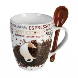 Tasse Céramique Coffee Beans avec Petite Cuillère
