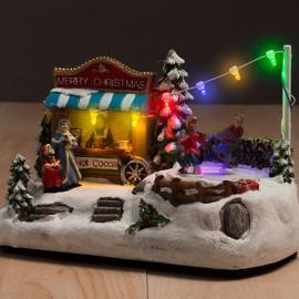 Paysage de Noël avec Lumières et Mouvement (7 LED)