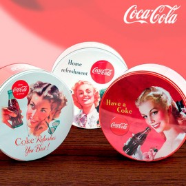 OUTLET Boîte vintage ronde et en métal Coca-Cola (Sans emballage )
