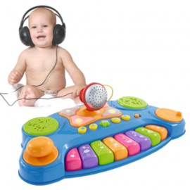 Clavier Musical avec Lumière et Microphone Baby DJ Music Mixer
