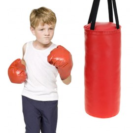Sac de Frappe avec Gants de Boxe pour Enfants