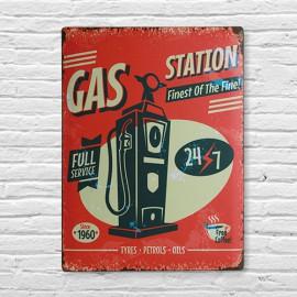 Plaque en Métal Gas Station
