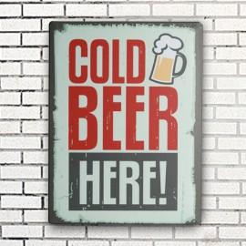 Plaque en Métal Cold Beer Here